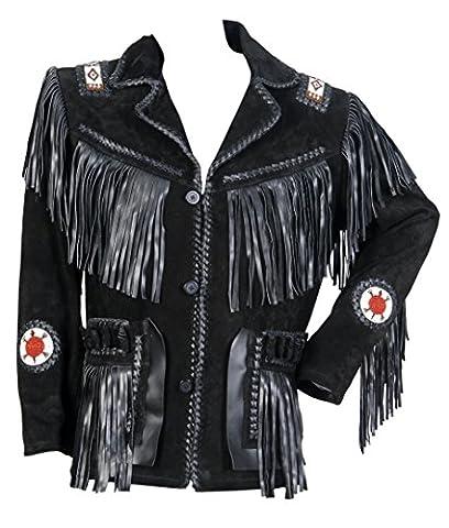 classyak Veste de manteau Western en daim avec franges, perles