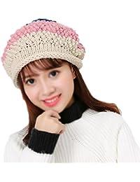 Leisial Mujer Boinas Sombrero de Tejido de Punto Gorro de Suave de Ganchillo  Mantener Caliente Otoño c842f8c5f51