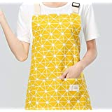Emndr Cotton Canvas Women's Cooking Apron With Convenient Pocket Durable Stripe Kitchen And Cooking Apron For Women/Men Professional Stripe Chef Apron For Cooking