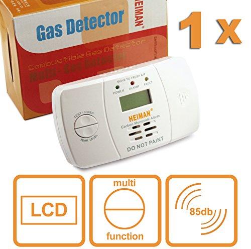 HEIMAN Co Melder Kohlenmonoxidmelder Kohlenmonoxid-Warner Detektor mit elektrochemischen Sensor und LCD-Display - weiß - 1er-Set