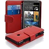 Cadorabo - Funda HTC DESIRE 300 Book Style de Cuero Sintético en Diseño Libro - Etui Case Cover Carcasa Caja Protección con Tarjetero en ROJO-INFIERNO