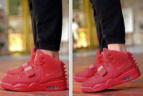 Sneaker Da Uomo Velcro Hi-top Scarpe Da Pallacanestro Chic Di Buona Qualità Scarpe Sportive Rinforzate Lace-up Anti-skip Cuscino D'aria Scarpe Rosso