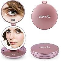 EASEHOLD Espejo 10X Amplificador para Maquillaje Plegable con Luz LED Doble Cara Portátil Coméstico (Dorado Rosado)