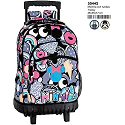 Minnie Mouse Patch - Mochila grande con carro fijo, trolley (Perona 55442)