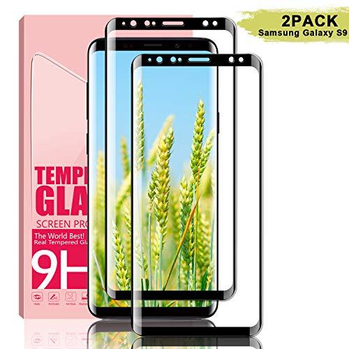 Youer Galaxy S9 Panzerglas Schutzfolie, [2 Stück] Full Coverage HD Ultra Klar Abdeckung Gehärtetem Glas, HD Displayschutzfolie, 9H Härte, Anti-Fingerabdruck, Blasenfreie 3D Hartglas - Schwarz