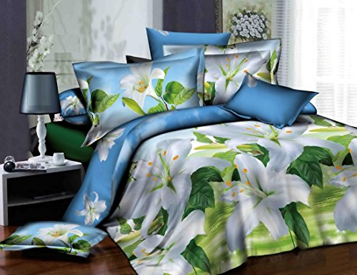 Dexim 3D Print Double Polysatin Bed Sheet With Two Pillow Cover Set (Multi)  available at amazon for Rs.849