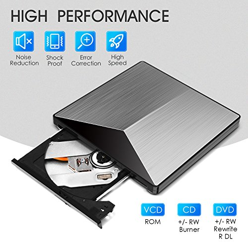 External DVD Drive, OUDEKAY USB 3.0 CD DVD Burner Drive Writer Player Fire Prevention Aluminum and PC Ultra Slim Portable for Windows, Laptop, Mac, Macbook Air/Pro, Apple, Desktop, PC-Silver