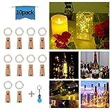 10 Stück LED Flaschenlicht, Evilto 2M Flaschen Lichterkette LED Weinflasche Nachtlicht Flaschenleuchte LED Beleuchtung Kork Lampe für Hochzeit Party Weihnachten, Halloween Deko Wamweiß.