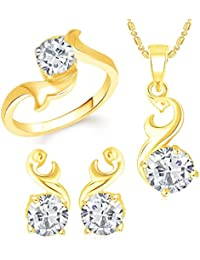 VK Jewels Solitaire Gold Plated Alloy Ring & Pendant Set Combo For Women & Girls - COMBO1397G [VKCOMBO1397G]