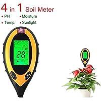 4 en 1 Testeur d'humidité du sol Mesure du sol LCD numérique Humidité de la température de la lumière du soleil PH Analyseur d'humidité pour intérieur Extérieur Jardin Ferme Plantes de pelouse Grain Fleurs Herbeaux