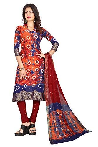 Sondarya Bandhani Traditional Satin Cotton Bandhej Dress Material