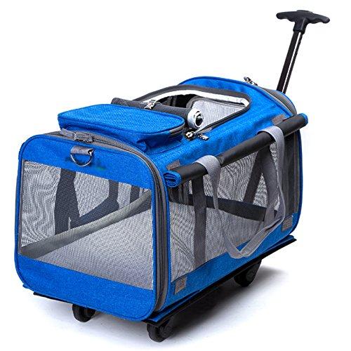 DXX WLQ Haustier Trolley Case - abnehmbare Tasche - Hund Out Pack - Car Carrier tragbare Katze Tasche - Pet Schultertasche,Blau,Haustierrucksac -
