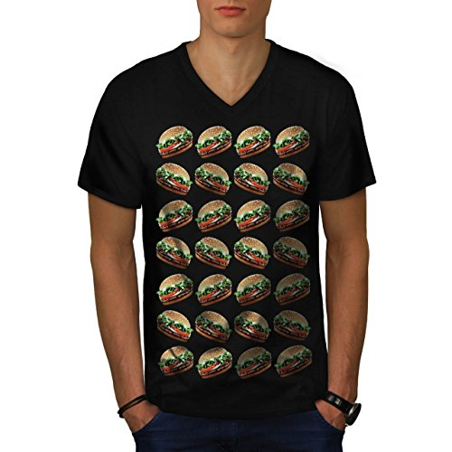 burger-multiple-joy-junk-food-men-new-black-l-v-neck-t-shirt-wellcoda
