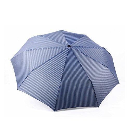 FakeFace® Unisex Poly Pongee 3 Stufen Faltbar Regenschirm Sonnenschirm Super Wasserdicht Glasfaser Rippen Auf-zu-Automatik UV-Schutz Schirm Kompaktschirm für Outdoor Camping (Blau)