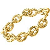 Citerna Yellow Gold Plated Silver Basket Weave Oval Link Bracelet of 21 cm