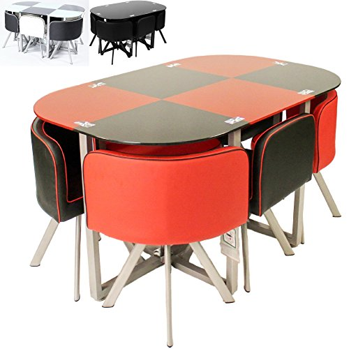 Charles jacobs 2017 contemporary table and 6 chair set for Space saving dining set