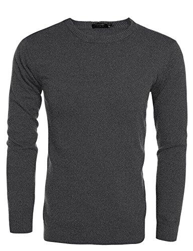 Coofandy Pullover Strickpullover Sweater Sweatshirts Langarmshirts Herren Lässige Slim Fit Rundhalsausschnitt Dunkelgrau