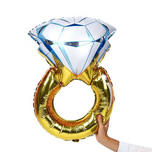 Auntwhale diamond engagement ring bling bridal shower wedding mylar stagnola balloon 55x85cm