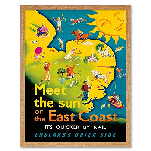 Wee Blue Coo LTD Travel East Coast England Anglia Sun Sea Sport UK Rail Art Print Framed Poster Wall Decor Kunstdruck Poster Wand-Dekor-12X16 Zoll