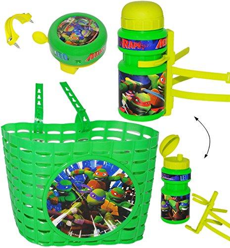 alles-meine.de GmbH 3 TLG. Set _ Fahrradkorb & Fahrradtrinkflasche & Fahrradklingel -  Teenage Mutant Ninja Turtles  - mit Befestigung - Korb Fahrrad Kinder - Jungen - universa.. (Kinder Fahrrad Korb Vorn)