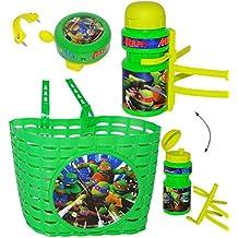 "3 tlg. Set _ Fahrradkorb & Fahrradtrinkflasche & Fahrradklingel - "" Teenage Mutant Ninja Turtles "" - mit Befestigung - Korb Fahrrad Kinder - Jungen - universal auch für Roller und Dreirad Laufrad / Kinderfahrrad - Lenkerkorb Kinder - Hero - Turtle / Schildkröten / Leonardo Donatello - vorne - Körbchen - Kinderfahrradkorb / Kinderkorb - Halterung - Fahrradflasche - Trinkflasche - für Lenker vorne"