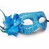 Party Masquerade Maske Flach Cracked Seite Blume Prinzessin Maske, Blau