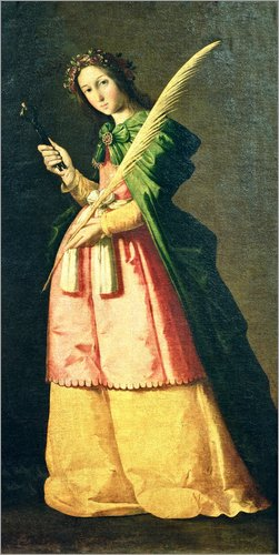 Posterlounge Acrylglasbild 90 x 180 cm: HL. Apollonia von Francisco de Zurbaran/Bridgeman Images - Wandbild, Acryl Glasbild, Druck auf Acryl Glas Bild