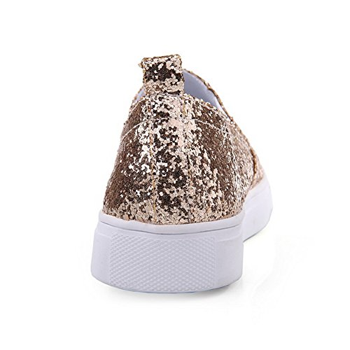 AgooLar Damen Niedriger Absatz Blend-Materialien Rein Rund Schließen Zehe Pumps Schuhe Golden