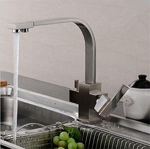 homjo Umkehrosmose Drei Spüle Mixer 3Wege Wasser Filter Wasserhahn Messing Konstruktion schwarz Tri Flow Küchenarmatur 2 Wasserhahn Montiert Wasserfilter