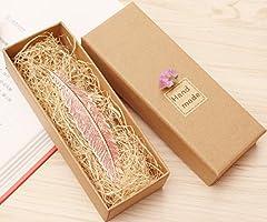 Idea Regalo - eMosQ Segnalibro in metallo, con rivestimento in ottone, a forma di piuma, classico, realizzato a mano, in confezione regalo Rose Gold