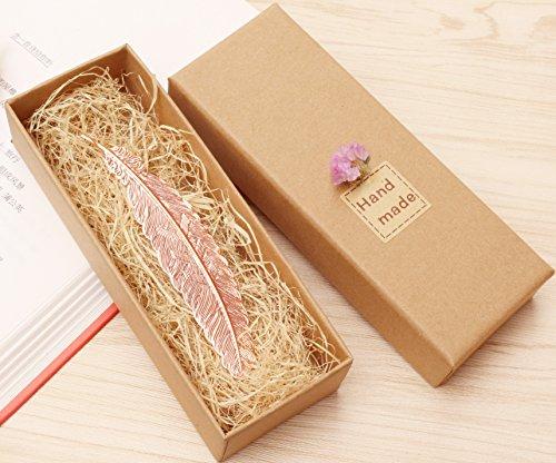 eMosQ Lesezeichen im Feder-Design, handgefertigt, klassisches Design, Metall/Messing, in wunderschöner Geschenkverpackung  rose gold
