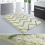 Tappeto da bagno moderno casa pura® linea Luxury Vivian | Verde | Spessore extra alto | 70x120 cm