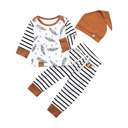 i-uend Baby Cute Feather T-Shirt Top Gestreifte Hose Kleidung Set Langarm Feather Top + Gestreifte Hose + Mütze Dreiteiliges Set - Gestreifte Hose Set