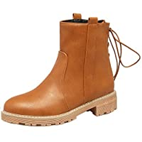 AgeeMi Shoes Women Lace-Up Low-Heels Round Closed Toe Pu Low-Top Boots,EuX114 Brown 37