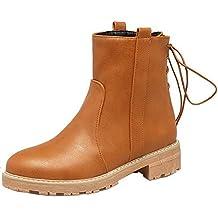 AgeeMi Shoes Donna Puro Allacciare Luccichio Punta Tonda Bassa Altezza Stivali