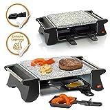 Raclette und Steingrill, Kombigerät für 2-4 Personen, ideal zum Campen (Grill mit nur 500Watt)