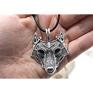 EthnicFeather -Halskette mit keltischem Wolfskopfanhänger. Mann oder Frau. Viking Nordic Wolf Silver Metal