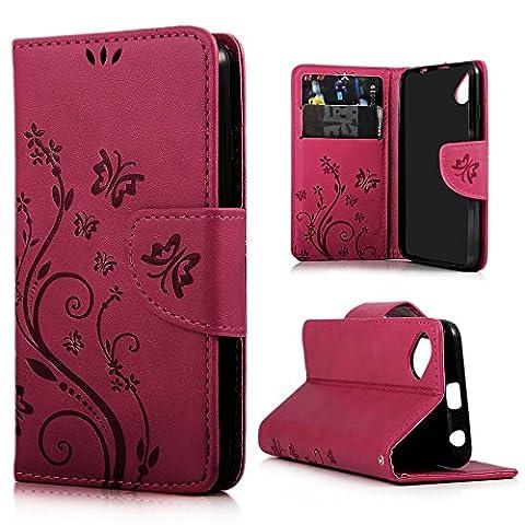 Mavis's Diary Étui Wiko Sunset 2 Coque en Cuir Housse de Protection Phone Case Cover Étui à Rabat pour Wiko Sunset 2 Rose Carmin Fleur Papillon Imprimé Fente de Carte Support Portefeuille