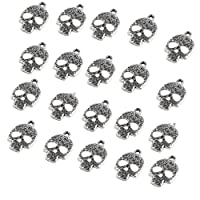 ‏‪KESYOO 20pcs Halloween Pendant Charms Silver Skull Skeleton Charms Jewelry Making Accessories for Halloween Decorations‬‏