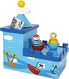 Spieluhr mit Spardose Olli & Bolli aus Holz, im kindgerechten Piratendesign, fördert die Freude an der Musik und schafft eine positive Sparquote, gesichert durch ein Schloss - 2