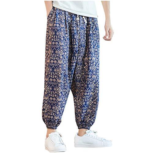 Pantaloni Harem Uomo,☀NnuoeN☀ Pantaloni Aladino Harem Pantaloni Uomo Baggy Hippie Pantaloni Larghi A Cavallo Basso con Tasche Great Comfort Stampa Pants con Tasca E Coulisse