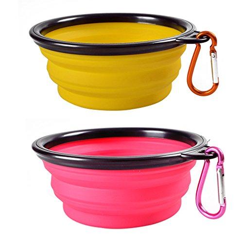 2pcs AIYUE Alimentatore Ciotola Acqua Cibo dell'animale Domestico Cani Gatti Bevitore Piatto Portatile Pieghevole Silicone con Moschettone (giallo+rosa)