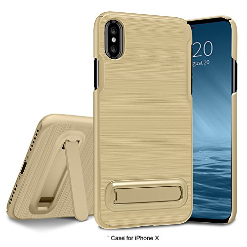 Cover iPhone X, Custodia iPhone X, Custodia Durevole Ibrido Doppio Strato Corpo Completo Difensore Custodia Protettiva Sostenitore Metallo per iPhone X dorato