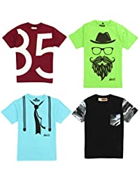 ABITO Boy's Cotton Printed T-Shirt (Pack of 4)
