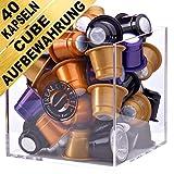 CUBE Aufbewahrungsbox mit 40 Bio Nespresso kompatible Kapseln. Der Kapselständer enthält Bio und Fairtrade Kaffee