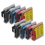 8 Druckerpatronen Tinte für Brother DCP 130C DCP 330C DCP 540CN ersetzen LC970 LC1000 37ml HC