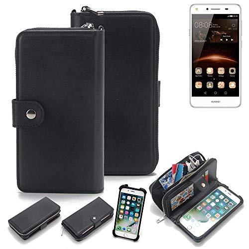 K-S-Trade 2in1 Handyhülle für Huawei Y5 II Single SIM Schutzhülle & Portemonnee Schutzhülle Tasche Handytasche Case Etui Geldbörse Wallet Bookstyle Hülle schwarz (1x)