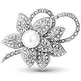 SHEGARCE in lega, a forma di spilla placcata elettroliticamente, con pavè di diamanti incastonati, motivo: ciliegio in fiore con perla, argento, 57 x 39 mm