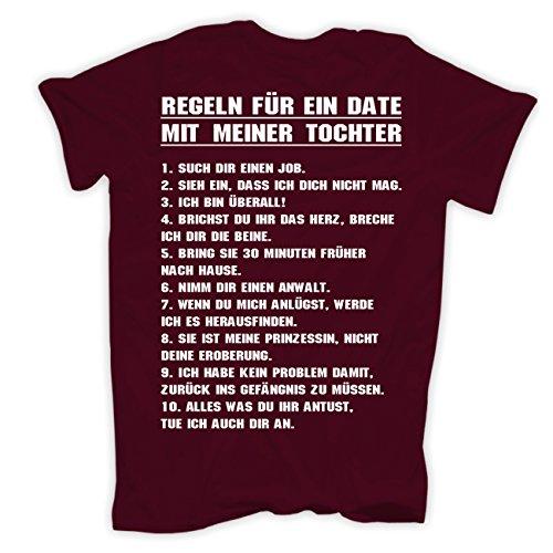 Männer und Herren T-Shirt Ein Date mit meiner Tochter mit Rückendruck Weinrot