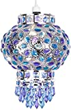 Traditional Moroccan Bazaar Style Chrome Plated Chandelier Ceiling Light Pendant Shade With Beautiful Blue And Purple Coloured Acrylic Jewel Droplets